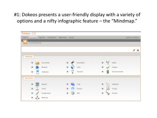 "The  Dokeos  "" mindmap "" offers a unique visual map for the student ."