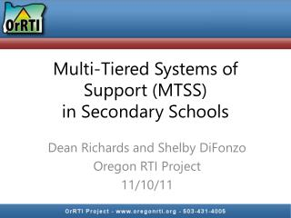 Multi-Tiered Systems of Support (MTSS) in Secondary Schools