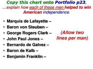 Marquis de Lafayette –  Baron von Steuben – George Rogers Clark –  John Paul Jones –