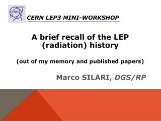 CERN LEP3 Mini-Workshop