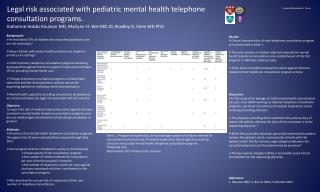 Legal risk associated with pediatric mental health telephone  consultation programs.