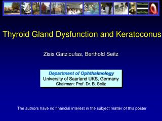 Thyroid Gland Dysfunction and Keratoconus