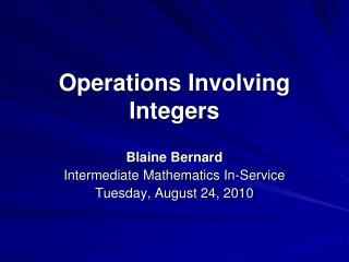 Operations Involving Integers