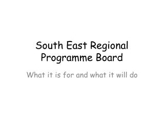 South East Regional Programme Board