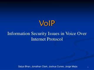 VoIP Information Security Issues in Voice Over Internet Protocol