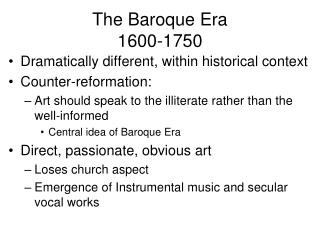 The Baroque Era 1600-1750