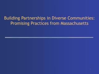 Building Partnerships in Diverse Communities:   Promising Practices from Massachusetts