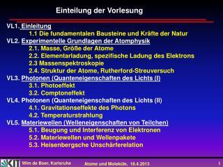 VL1.  Einleitung 1.1 Die fundamentalen Bausteine und Kr�fte der Natur