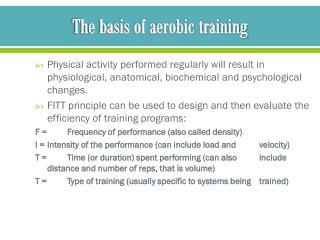 The basis of aerobic training