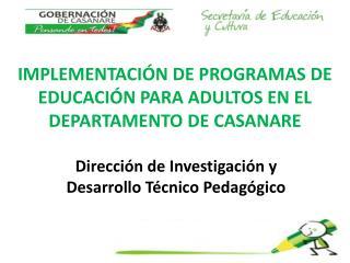 IMPLEMENTACIÓN DE PROGRAMAS DE EDUCACIÓN PARA ADULTOS EN EL DEPARTAMENTO DE CASANARE