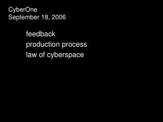 CyberOne September 18, 2006