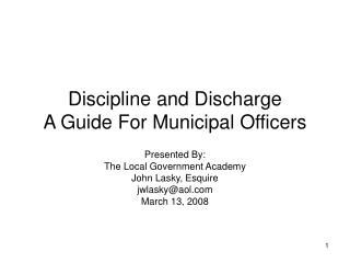 Discipline and Discharge A Guide For Municipal Officers