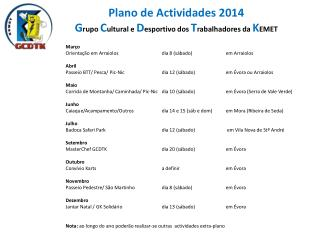 Plano de Actividades 2014 G rupo  C ultural e  D esportivo dos  T rabalhadores da  K EMET