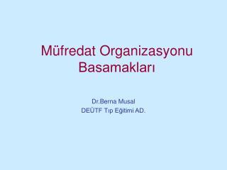 Müfredat Organizasyonu Basamakları