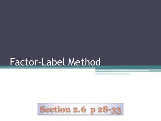 Factor-Label Method