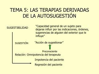 TEMA 5: LAS TERAPIAS DERIVADAS DE LA AUTOSUGESTIÓN