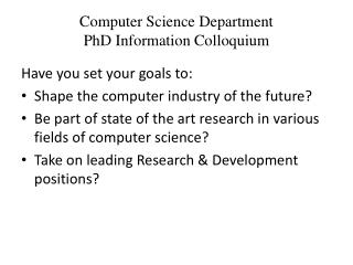 Computer Science Department PhD Information Colloquium