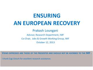 ENSURING  AN EuropEan RECOVERY