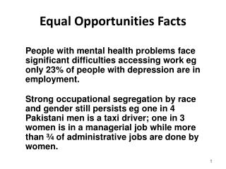 Equal Opportunities Facts