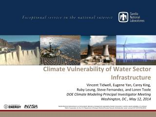 Climate Vulnerability of Water Sector Infrastructure