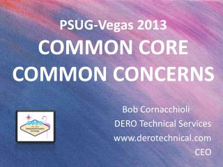 PSUG-Vegas 2013 COMMON CORE  COMMON CONCERNS