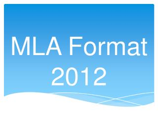 MLA Format 2012