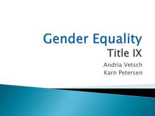 Gender Equality Title IX