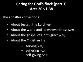 Caring for God's flock (part 1) Acts 20 v1-38