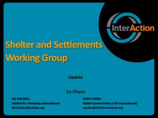 Shelter and Settlements Working Group