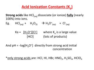 Acid Ionization Constants ( K a )