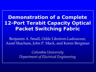 Demonstration of a Complete 12-Port Terabit Capacity Optical Packet Switching Fabric
