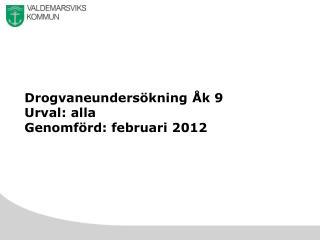 Drogvaneundersökning Åk 9 Urval :  alla Genomförd :  februari  2012