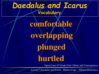 Daedalus and Icarus Vocabulary