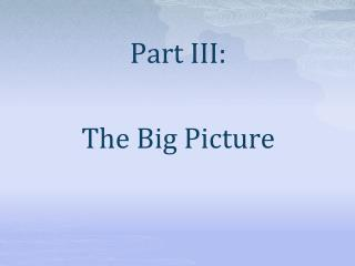 Part III: The Big Picture