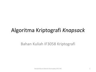 Algoritma Kriptografi Knapsack