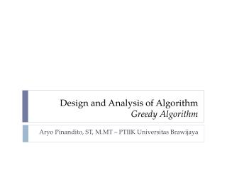 Design and Analysis of Algorithm Greedy Algorithm