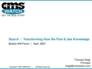 Search  |  Transforming How We Find & Use Knowledge