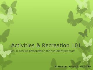 Activities & Recreation 101