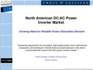 North American DC/AC Power Inverter Market Growing Need for Reliable Power Stimulates Demand