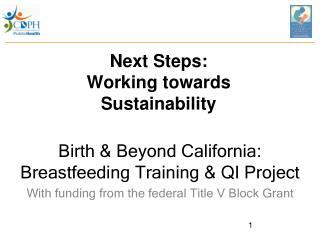 Next Steps: Working towards Sustainability