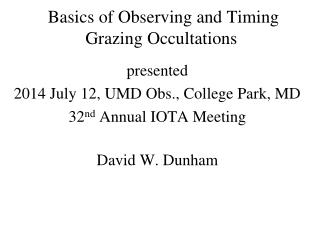 Basics of Observing and Timing Grazing Occultations