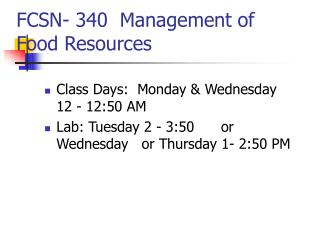 FCSN- 340  Management of Food Resources