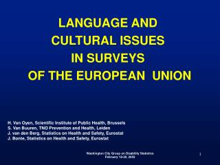 LANGUAGE AND  CULTURAL ISSUES  IN SURVEYS  OF THE EUROPEAN  UNION