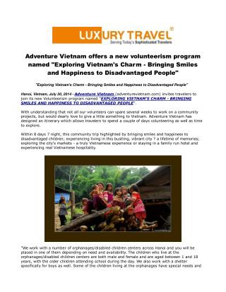 Adventure Vietnam offers a new volunteerism program