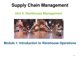 Unit 4: Warehouse Management