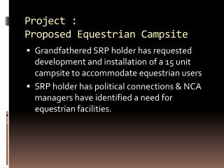 Project :  Proposed Equestrian Campsite