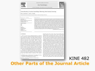 KINE 482 Other Parts of the Journal Article