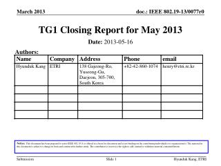 TG1 Closing Report for May 2013