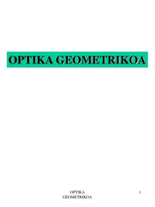 OPTIKA GEOMETRIKOA