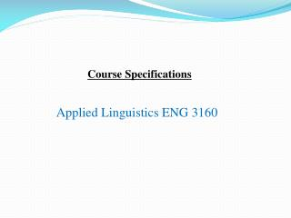 Applied Linguistics ENG 3160